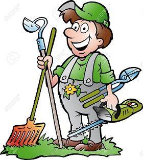 -Jardinier-heureux-avec-son-outil-de-jardin-d'images